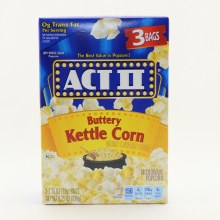 ACT II Buttery Kettle Corn 0g Trans Fat 100Per Cent Whole Grain  and  3 Bags