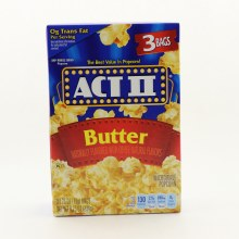 Act II Butter Microwave Popcorn 0g Trans Fat Per Serving