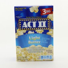 ACT II Light Butter Popcorn 0g Trans Fat per serving 3 bags  and  100Per Cent Whole Grain Popcorn