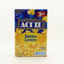 Act II Butter Lovers Microwave Popcorn 0g Trans Fat Per Serving
