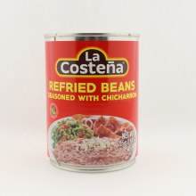 La Costena Refried Beans Seasoned with Chicharron 20.5 oz