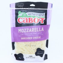 Cabot Mozzarella Shredded Cheese  Low Moisture Part Skim  8 oz