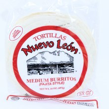 Nuevo Leon Flour Tortillas. MEdium Buttitos Fajita Style. 16 oz.