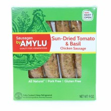 Amylu Sun Dried Tomato  and  Basil Chicken Sausage All Natural Pork Free and Gluten Free 9 oz