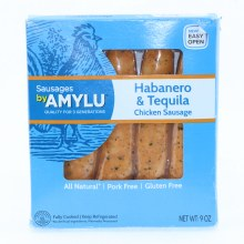 Amylu Habanero  and  Tequila Chicken Sausage All Natural Pork Free and Gluten Free