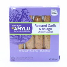 Amylu Roasted Garlic  and  Asiago Chicken Sausage All Natural Pork Free and Gluten Free