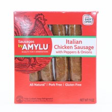 Amylu Italian Chicken Sausage with Peppers  and  Onions All Natural Pork Free and Gluten Free