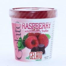 Handmade Raspberry Gelato with Raspberry Truffles