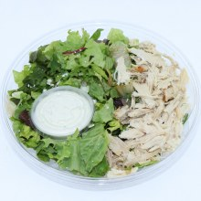 Harvestimes Home Made Greek Chicken Salad with Romaine Lettuce Spring Mix Greens Green Onions Greek Feta Cheese Chicken and Salad Dressing