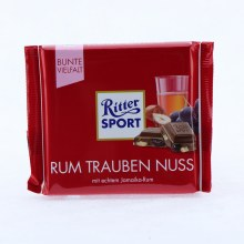 Ritter Sport, Rum Trauben Nuss, Milk Chocolate with Rum, Raisins, and Nuts 3.53 oz