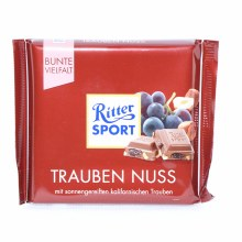 Ritter Sport, Trauben Nuss, Milk Chocolate with Raisins and Hazelnuts 3.53 oz