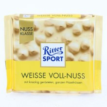 Ritter Sport, Weisse Voll-Nuss, White Milk Chocolate with Whole Nuts 3.5 oz