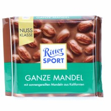 Ritter Sport, Ganze Mandel, Milk Chocolate with Whole Almonds 3.5 oz