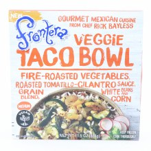 Frontera Veggie Taco Bowl Fire Roasted Vegetables Roasted Tomatillo Cilantro Sauce Grain Blend White Beans and Corn Vegan  11.5 oz