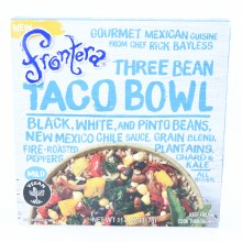 Frontera Three Bean Taco Bowl Black White and Pinto Beans New Mexico Chile Sauce Grain Blend Plantains Chard  and  Kale and Fire Roasted Peppers Mild All Natural  11.2 oz