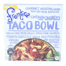 Frontera Chicken & Chorizo Taco Bowl Grilled Chicken Breast Smoky Pork Chorizo Tomato Chipotle Sauce Red Peppers Grain Blend and Fire Roasted Peppers Medium Heat All Natural  11 oz