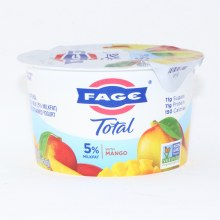 Fage Total 5Per Cent Milk Fat Yogurt with Mango  All Natural  Whole Milk  Greek Strained Yogurt  Non GMO 5.3 oz