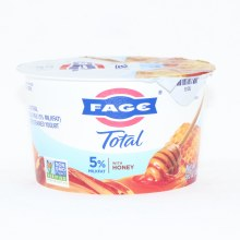 Fage Total 5Per Cent Milk Fat Yogurt with Honey  All Natural  Whole Milk  Greek Stained Yogurt  Non GMO