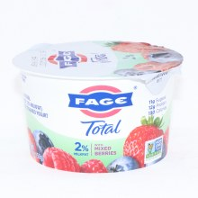 Fage Total 2Per Cent Milk Fat Yogurt with Mixed Berries  All Natural  Low fat  Greek Strained Yogurt  Non GMO 5.3 oz