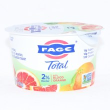 Fage Total 2Per Cent Milk Fat Yogurt with Blood Orange  All Natural  Low Fat  Greek Strained Yogurt  Non GMO 5.3 oz