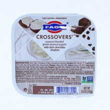 Fage  Crossovers Coconut Blended Greek Strained Yogurt with Dark Chocolate Droplets  Non GMO  5.3oz