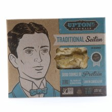 Upton Traditional Seitan 100Per Cent Vegan Good Source of Protein Zero Oil Trans Fat and Cholesterol Low in Carbs  and  Fat NON GMO 8 oz