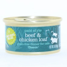 Natural Value Pate Style Beef & Chicken Loaf, Grain-Free Dinner for Cats  3 oz