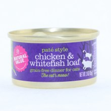 Natural Value Pate Style Chicken & Whitefish Loaf, Grain-Free Dinner for Cats  3 oz