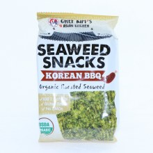 Chef Kims Seaweed Snacks  Korean BBQ Organic Roasted Swaweed  100Per Cent natural  Gluten Free  No GMOs  0.35 oz