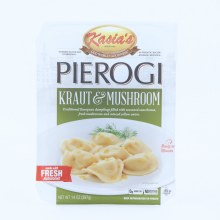 Kasias Pierogi  Kraut  and  Mushrooms  Dumplings Filled with Seasoned Sauerkraut  Fresh Mushrooms  and  Minced Yellow Onion  0g Trans Fat  No Artificial Colors or Flavors  14 oz 14 oz