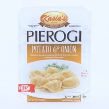 Kasias Pierogi Potato  and  Onion Dumplings Filled with Fresh Idaho Potatoes  and  Minced Yellow Onion 0g Trans Fat No Artificial Colors or Flavors 14 oz 14 oz