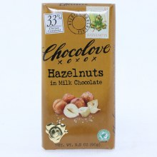 Chocolove Hazelnuts in Milk Chocolate, 33% Cocoa 3.2 oz