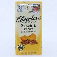 Chocolove Peach & Pecan in Milk Chocolate, 33% Cocoa 3.1 oz