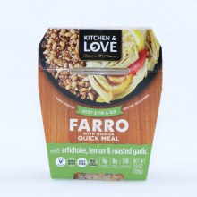 Kitchen & Love Farro with Quinoa with Artichoke Lemon and Roasted Garlic Quick Meal Non GMO Vegan Nut Free and No Sugar Added