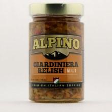Alpino Giardiniera Relish Mild Premium Italian Topping 12 oz