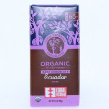 Equal Exchange Dark Chocolate Equador Dark, USDA Organic, 65% Cocoa 2.8 oz
