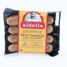 Aidells All Natural Spicy Mango with Jalapeno Smoked Chicken Sausage No Artificial Ingredients