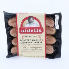 Aidells All Natural Roasted Garlic  and  Gruyere Cheese Smoked Chicken Sausage No Artificial Ingredients