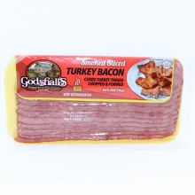 Godshalls Smoked Sliced Turkey Bacon Cured Turkey Thighs Chopped  and  Formed 94Per Cent Fat Free Wood Smoked