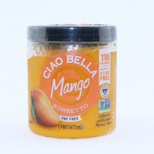 Cia Bella Mango Sorbetto. Fat Free Dairy Free Non GMO.  14 oz