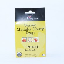 Wedderspoon Organic Manuka Honey Lemon Drops, USDA Organic, Gluten Free, No Wheat, Barley or Rye, Sulfite Free, No Artificial Coloring, Flavoring or Preservatives 4 oz