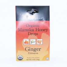 Wedderspoon Organic Manuka Honey Ginger Drops, USDA Organic, Gluten Free, No Wheat, Barley or Rye, Sulfite Free, No Artificial Coloring, Flavoring or Preservatives 4 oz