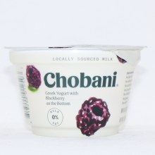 Chobani 0Per Cent Milk Fat  Greek Yogurt with Blackberry on the Bottom  No Fake Fruit  No Artificial Flavors  No Artificial Sweeteners  No Preservatives  No GMO Ingredients  No Gluten  No rBST  Non Fat