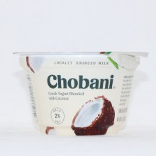 Chobani 2Per Cent Milk Fat  Greek Yogurt Blended with Coconut  No Fake Fruit  No Artificial Flavors  No Artificial Sweeteners  No Preservatives  No GMO Ingredients  No Gluten  rBST  Low Fat