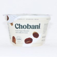 Chobani 3.25Per Cent Milk Fat  Greek Yogurt Blended with Coffee  and  Cream  No Artificial Flavors  No Artificial Sweeteners  No Preservatives  No GMO Ingredients  No Gluten  No rBST  Whole Milk