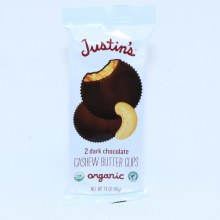 Justins Dark Chocolate Cashew Butter Cups 2 Cups to a package 1.4 oz