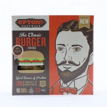 Upton Classic Burger Good Source of Protein Zero Trans Fat  and  Cholesterol Low in Carbs NON GMO 6.4 oz