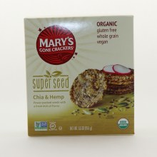 Mary's Gone Crackers Super Seed Chia & Hemp  Crackers, USDA Organic, Gluten Free, Whole Grain, Vegan 5.5 oz