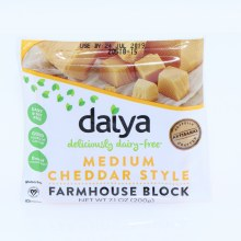 Daiya Dairy Free Medium Cheddar Dairy  and  Soy Free Good source of Calcium 0mg of Cholesterol Gluten Free Vegan 7.1 oz