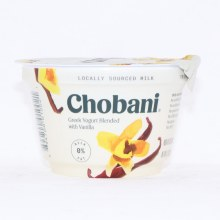 Chobani 0Per Cent Milk Fat Greek Yogurt Blended with Vanilla No Artificial Flavors No Artificial Sweeteners No Preservatives No GMO Ingredients No Gluten No rBST Non Fat